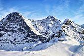 Swiss Alpine Peaks And Ski Slopes In Winter