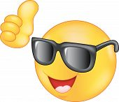 picture of emoticons  - illustration of emoticon wearing sunglasses giving thumb up - JPG