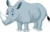 stock photo of rhino  - illustration of Cartoon rhino isolated on white - JPG