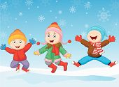 Group of children jumping together in wintertime