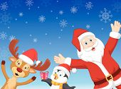 Vector Happy cartoon Santa, penguin and deer