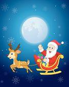 Santa in his Christmas sled being pulled by reindeer vector