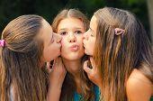 Teenage Girl Kissed On The Cheeks