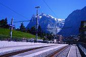 Railway Station in the Resort of Grindelwald (Switzerland)