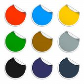 Set Of Blank Stickers. Promotional Labels. Vector Illustration.