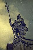 Old Photo With Metal Statue