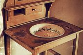 Old Poto With Old Serbian Furniture For Washing Their Hands