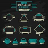 Thin line labels and design elements collection on dark gray background