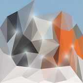 Abstract polygonal triangular background with glaring lights for use in design