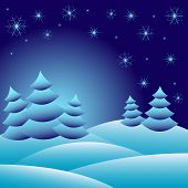 Winter Background With Fir Trees On Snowdrifts And With Different Snowflakes 2015