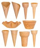 Ice cream cones collection isolated on white background