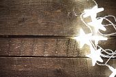..christmas Rustic Background With Lights, Snowflakes, Stars And Free Text Space. Festive Vintage Pl