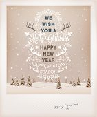 Vintage Christmas Greeting Card Design. Retro Xmas Holiday Style. Winter Landscape with Typographic Christmas Elements.