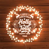 Glowing White Christmas Lights Wreath for Xmas Holiday Greeting Cards Design. Wooden Hand Drawn Background.