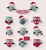 stock photo of owls  - Merry Christmas - JPG