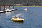 Speedboat By A Dock