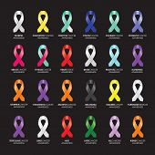 pic of leukemia  - a large set of colourful awareness ribbons - JPG