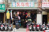 TAIPEI, TAIWAN - November 16th : A Shop sell various bags near Longshan Temple, Taipei, Taiwan on November 16th, 2014.