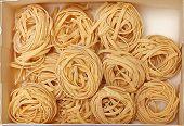 pic of nesting box  - Dry Italian pasta tagliatelle nests in box - JPG