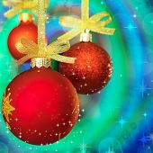 Christmas red balls on color background