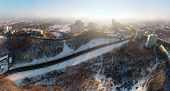 Winter in the Kiev city, aerial panorama