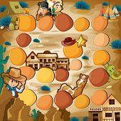 Board game with cowboy theme