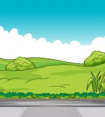Illustration of a beautiful view of green hills