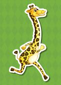 An isolated drawing of a happy giraffe