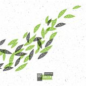 Go Green Concept Poster With Leaves. Raster version