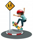 A boy skateboarding near the signage on a white background