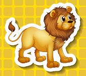 Standing pose young lion sticker