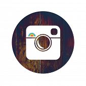 Hipster Photo Icon on Wooden Texture with Cross Process Effect. Raster version