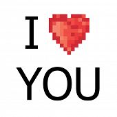 5 color pixel heart. Raster version