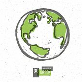 Go Green Concept Poster With Earth. Raster version