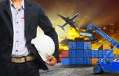 Working Man And Container Dock In Land ,air Cargo Logistic Freight Industry