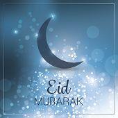 Eid Mubarak - Moon in the Sky - Greeting Card for Muslim Community Festiva