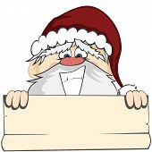image of lunate  - Santa Claus holding a bulletin with a lunatic smile  - JPG