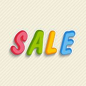 Colorful stylish text design of Sale on seamless beige color background.
