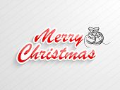 Merry Christmas celebration with stylish text and X-mas ball tied with bow on stylish background.