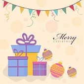 Merry Christmas celebration with colorful gift boxes, X-mas balls and bunting on stylish background.