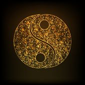 Chinese Yin-Yang symbol in shiny golden color.