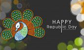 Beautiful peacock in national flag colors on tricolor circles and Ashoka Wheel decorated background for Happy Indian Republic Day celebrations.