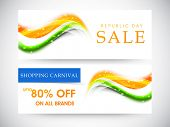 Website sale header or banner design with discount offer and shiny national flag colors for Indian Republic Day celebrations.