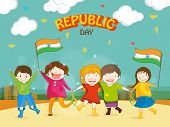 Cute little kids celebrating Happy Indian Republic Day with Indian National Flags on urban background.