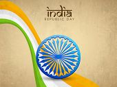 Indian Republic Day celebrations with Ashoka Wheel and national tricolor waves on grungy background.