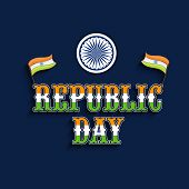 Stylish text Republic Day in tricolor with Indian National Flag and Ashoka Wheel on blue background.