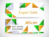 Website sale header or banner with discount offer and shiny triangles in national flag colors for Indian Republic Day and Independence Day celebrations.