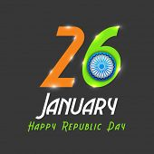 Shiny text 26th January with Ashoka Wheel for Happy Indian Republic Day celebrations, can be used as poster or banner design.