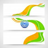 image of indian independence day  - Website header or banner set with Ashoka Wheel and national flag colors for Indian Republic Day and Independence Day celebrations - JPG