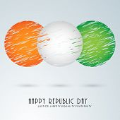 Creative circles design in national tricolor for Happy Indian Republic Day celebration on sky blue background.